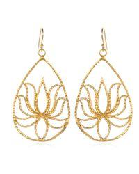 Satya Jewelry   Metallic Teardrop Gold Lotus Earrings   Lyst