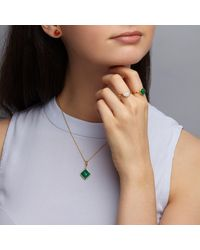 Dione London - Metallic Celest Small Emerald Circle Stacking Ring - Lyst