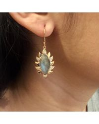 Meghna Jewels | Single Drop Claw Marquise Earrings Green Chalcedony & Diamonds | Lyst