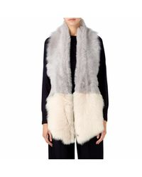 Gushlow and Cole - Gray Lavender Grey & Cream Shearling Split Scarf - Lyst
