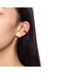 Astrid & Miyu - Wishbone Ear Cuff In Gun Metal With Black Stones - Lyst