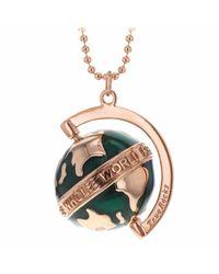 True Rocks - Multicolor Small Globe Necklace Rose Gold & Green Enamel - Lyst