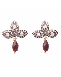 Carousel Jewels - Metallic Crystal Quartz & Garnet Drop Earrings - Lyst