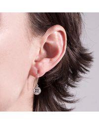 Edge Only - Metallic Button Drop Earrings Silver - Lyst