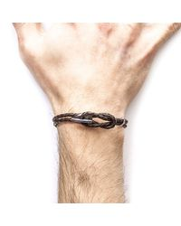 Anchor & Crew - Dark Brown Padstow Silver & Braided Leather Bracelet for Men - Lyst