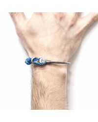 Anchor & Crew - All Blue & Silver Navigation Wharf Bangle for Men - Lyst