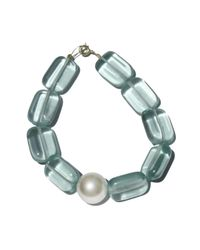 Roses Are Red Green Pearl & Aquamarine Bracelet