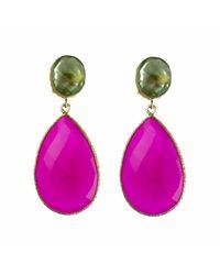 Carousel Jewels   Multicolor Double Drop Peridot & Fuchsia Chalcedony Earrings   Lyst