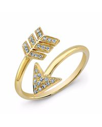 Anne Sisteron - Metallic 14kt Yellow Gold Diamond Wrap Around Arrow Ring - Lyst