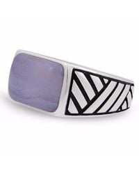 LMJ - Blue Lace Agate Stone Ring for Men - Lyst