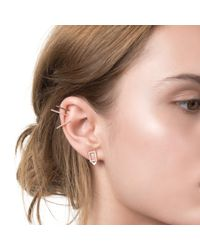 Astrid & Miyu Metallic Rectangle Ear Jacket In Gold