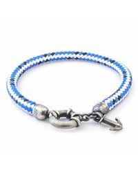 Anchor & Crew | Blue Dash Salcombe Silver & Rope Bracelet for Men | Lyst