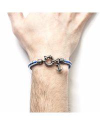 Anchor & Crew - Blue Dash Salcombe Silver & Rope Bracelet for Men - Lyst
