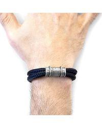 Anchor & Crew Black Larne Silver & Rope Bracelet for men