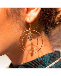 Latelita London - Multicolor Diamond Double Hoop Heart Earring - Lyst