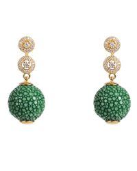 Latelita London - Stingray Ball Earring With Zircon Emerald Green Jade - Lyst