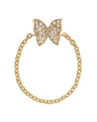 Talia Naomi   Metallic Fly Away With Me Chain Ring Gold   Lyst
