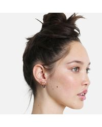 Tada & Toy - Multicolor Shark Tooth Earring Rose Gold And Black - Lyst