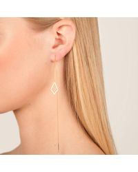 Dutch Basics - Metallic Ruit Drop Chain Earring Gold Single - Lyst