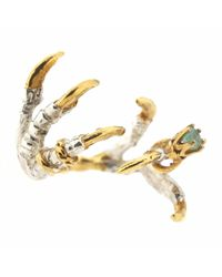 Tessa Metcalfe | Metallic Pigeon Grasp Claws With An Emerald Ring | Lyst