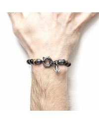 Anchor & Crew - Brown Tigers Eye Port Silver & Stone Bracelet for Men - Lyst