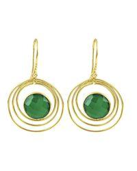 Carousel Jewels - Green Onyx & Gold Double Loop Earrings - Lyst