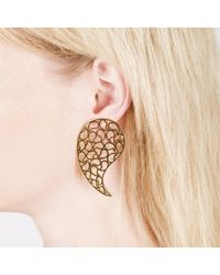 Sonal Bhaskaran - Metallic Jaali Gold Earrings Clear Cz - Lyst