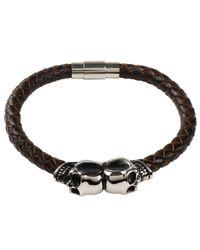 Latelita London - Brown Leather Skull Bracelet Silver for Men - Lyst