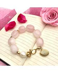 Farra Multicolor Rose Quartz With Freshwater Pearls & Shell Charm Bracelet