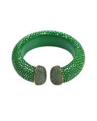 Latelita London   Stingray Cuff Gold Emerald Green   Lyst