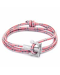 Anchor & Crew | Red Dash Union Silver & Rope Bracelet for Men | Lyst
