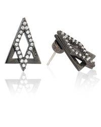 Astrid & Miyu Gray Diamond Ear Jacket In Gunmetal