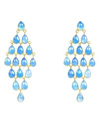 Latelita London - Cascade Earring Blue Chalcedony Gold - Lyst