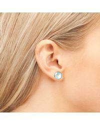 Latelita London - Pink Medium Circle Stud Earring Rose Quartz Rosegold - Lyst