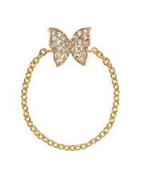 Talia Naomi Metallic Fly Away With Me Chain Ring Gold