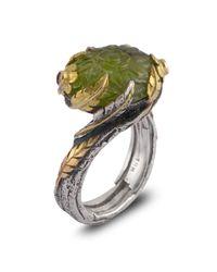 Emma Chapman Jewels | Green Peacock Peridot Diamond & Blue Sapphire Ring | Lyst