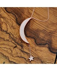 Latelita London - Large Moon And Star Necklace Rosegold White Cz - Lyst