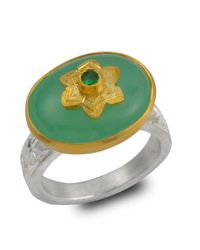 Emma Chapman Jewels - Green Byzantine Star Chrysoprase & Tsavorite Ring - Lyst