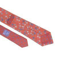 40 Colori Pink Coral Birch Printed Linen Tie for men