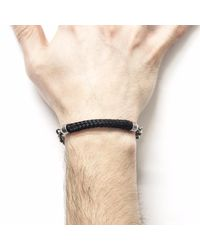 Anchor & Crew | Black Derry Silver & Rope Bracelet for Men | Lyst