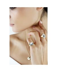 No 13 Metallic Snow Agate Horizontal Signet Ring Silver