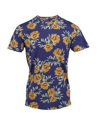 Lords of Harlech - Blue Maze Tee In Navy Tropicana for Men - Lyst