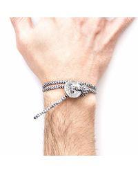 Anchor & Crew - White Noir Lerwick Silver & Rope Bracelet for Men - Lyst