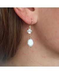 Lily Flo Jewellery Multicolor Sereia White Topaz & Baroque Pearl Drop Earrings On Solid Gold
