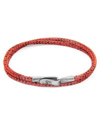 Anchor & Crew - Red Dash Liverpool Silver & Rope Bracelet for Men - Lyst