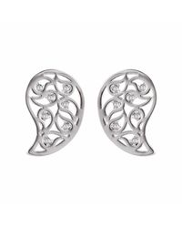 Sonal Bhaskaran | Metallic Reya Silver Paisley Earrings Clear Cz | Lyst