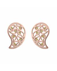 Sonal Bhaskaran | Multicolor Reya Rose Gold Paisley Earrings Yellow Cz | Lyst