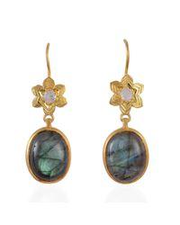 Emma Chapman Jewels - Gray Byzantine Star Labradorite & Moonstone Earrrings - Lyst