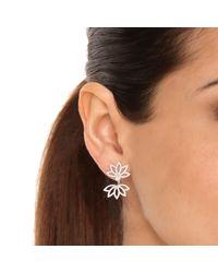 Joana Salazar - White Lotus Flower Sparkling Earjackets - Lyst