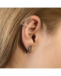 Astrid & Miyu Gray Circle Ear Jacket In Gunmetal
